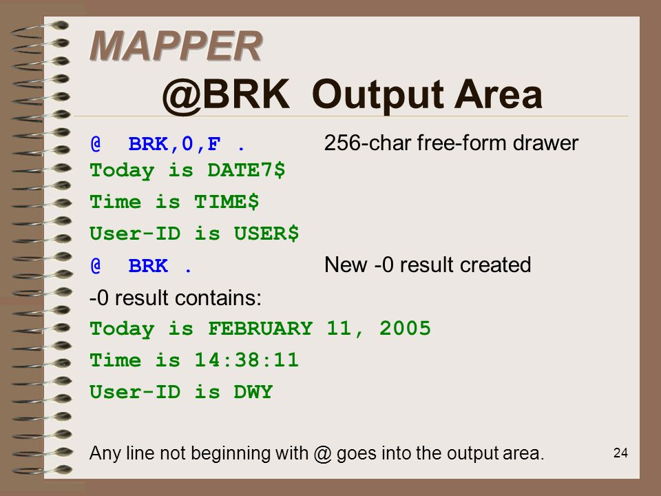 MAPPER @BRK Output Area