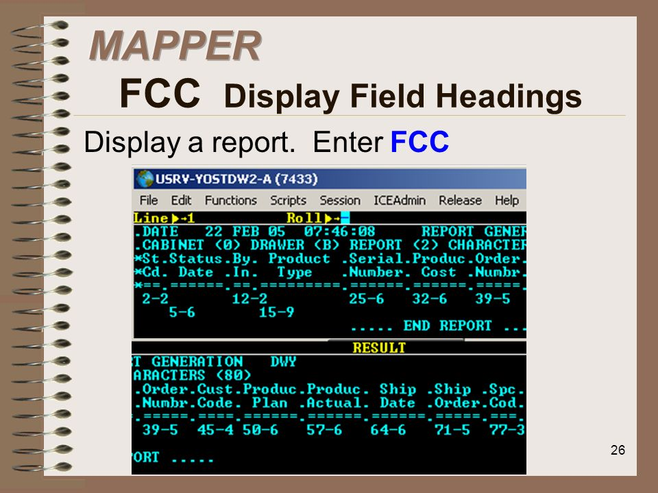 MAPPER FCC Display Field Headings