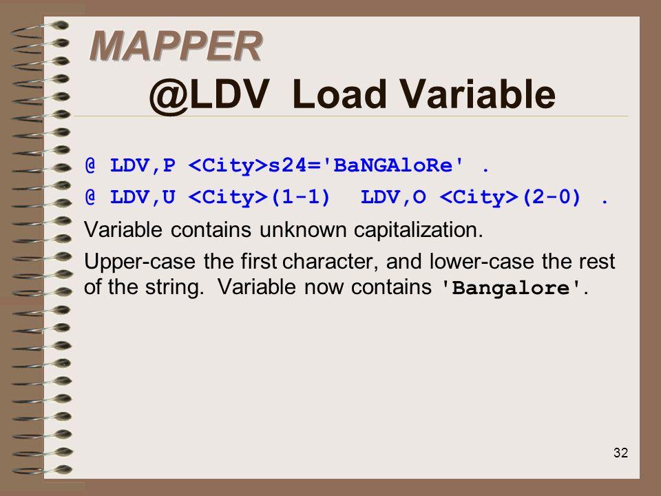 MAPPER @LDV Load Variable