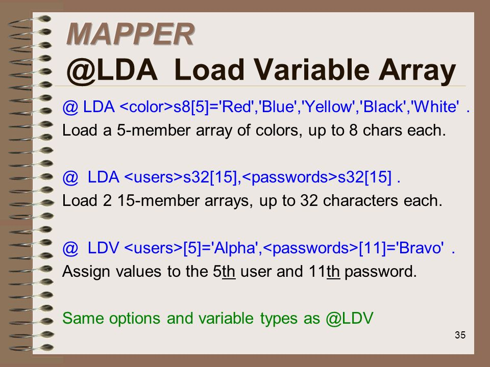 MAPPER @LDA Load Variable Array