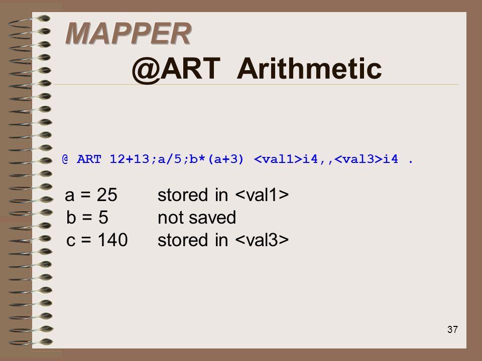MAPPER @ART Arithmetic