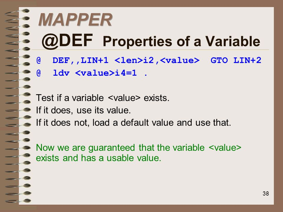 Properties of a Variable