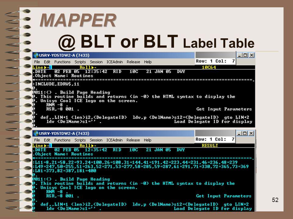 MAPPER @ BLT or BLT Label Table