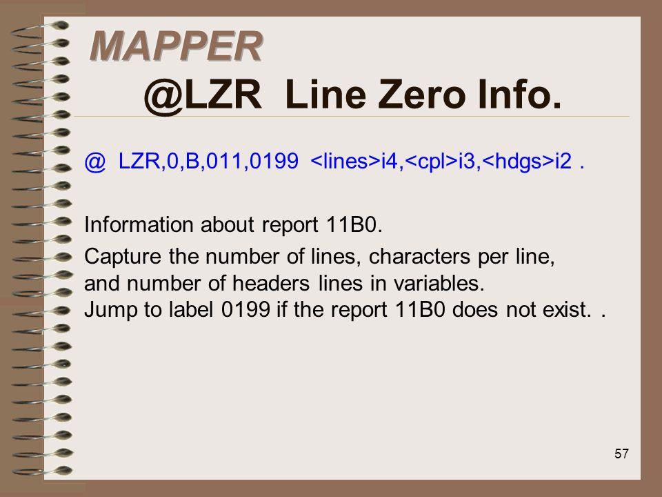 MAPPER @LZR Line Zero Info.