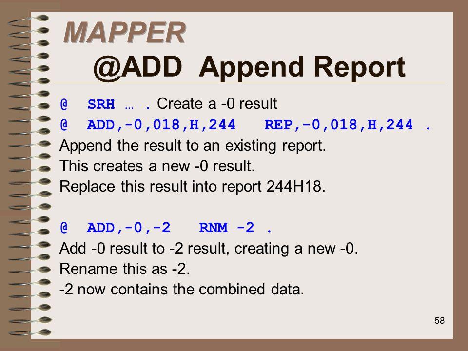 MAPPER @ADD Append Report