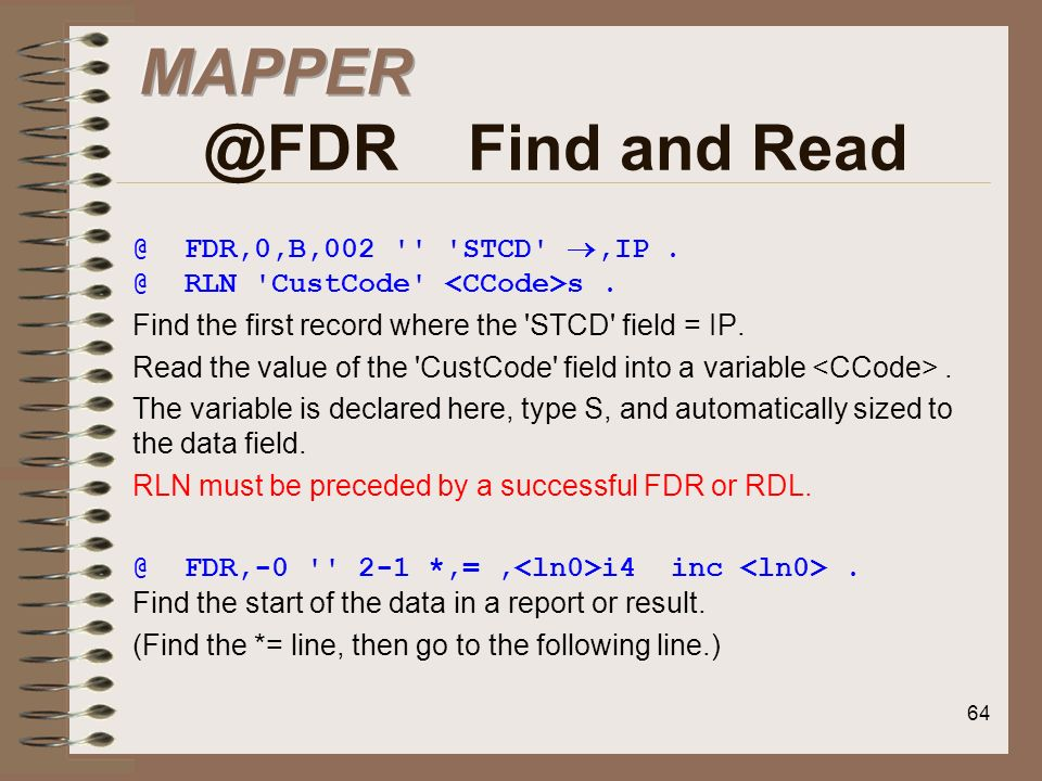 MAPPER @FDR Find and Read