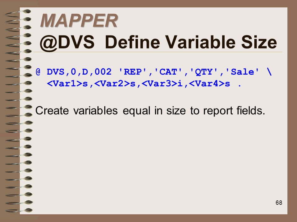 MAPPER @DVS Define Variable Size