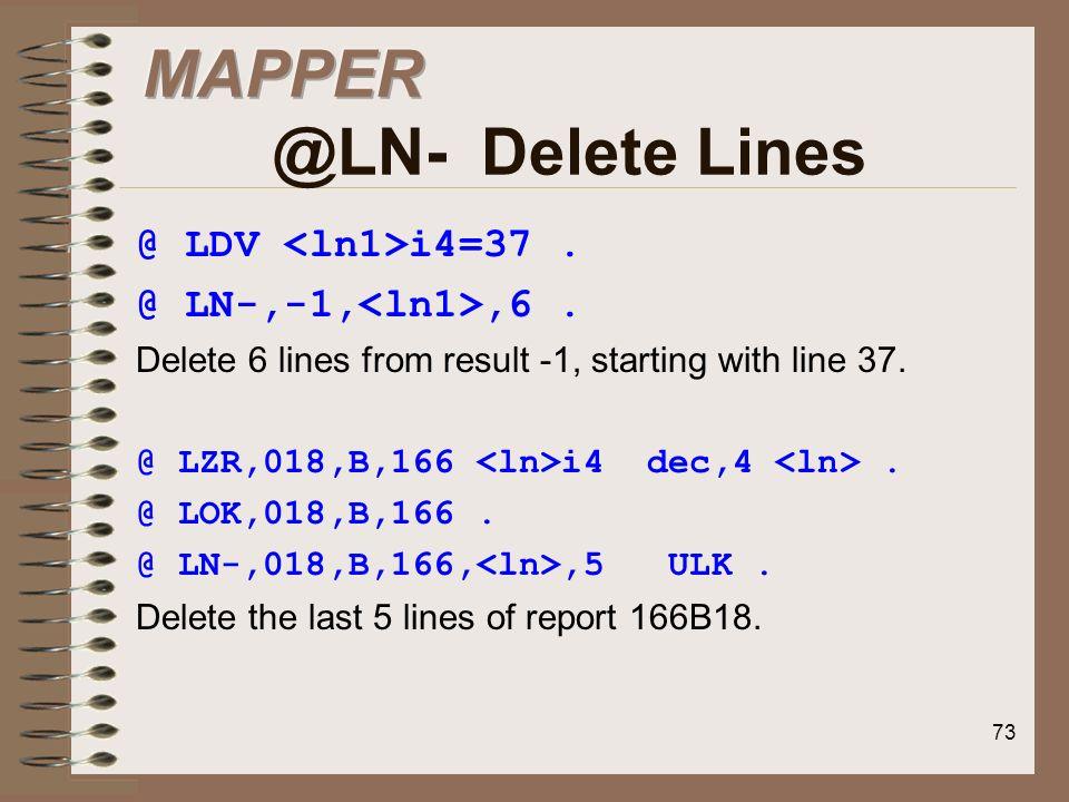MAPPER @LN- Delete Lines