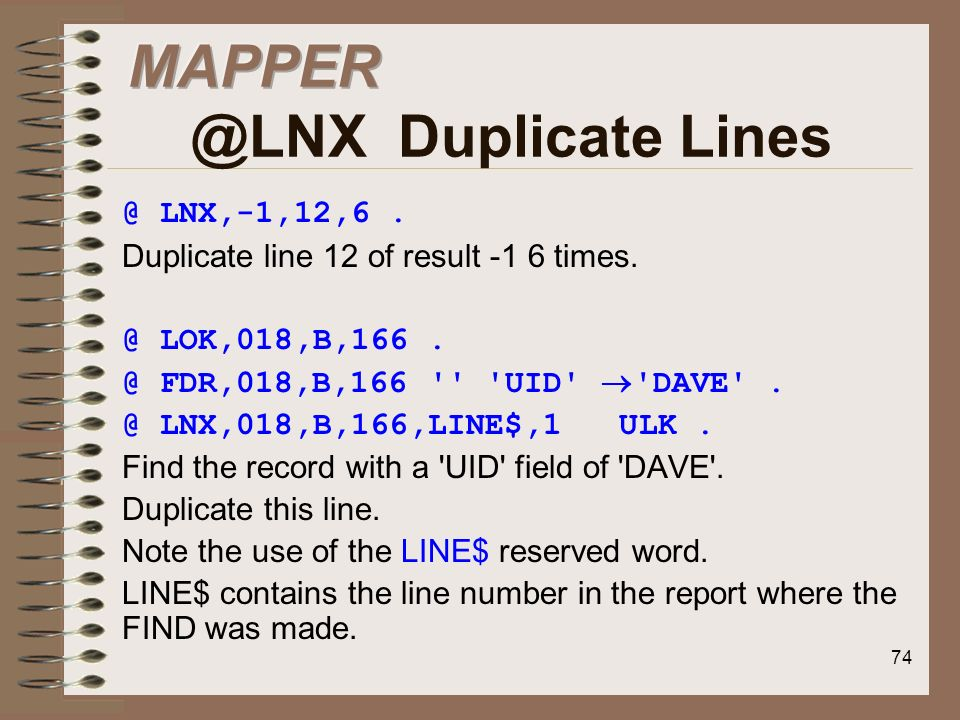 MAPPER @LNX Duplicate Lines