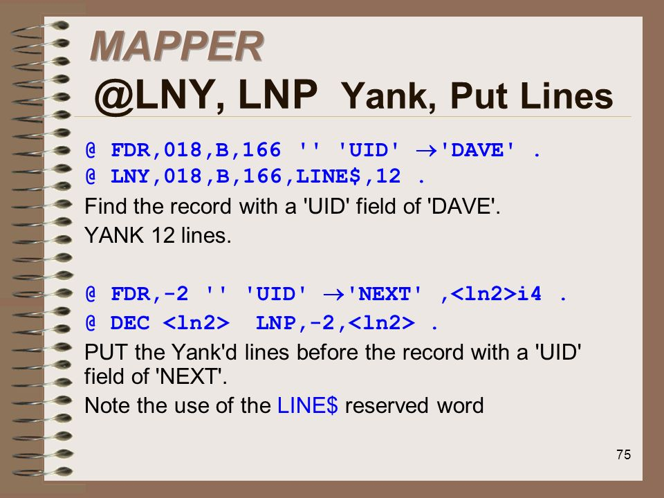 MAPPER @LNY, LNP Yank, Put Lines