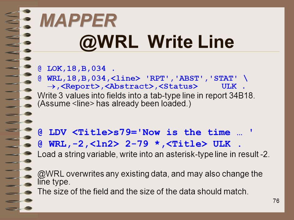 MAPPER @WRL Write Line @ LDV <Title>s79= Now is the time …