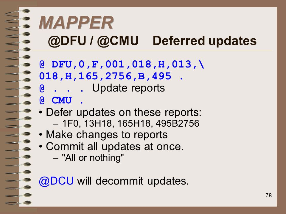 MAPPER @DFU / @CMU Deferred updates