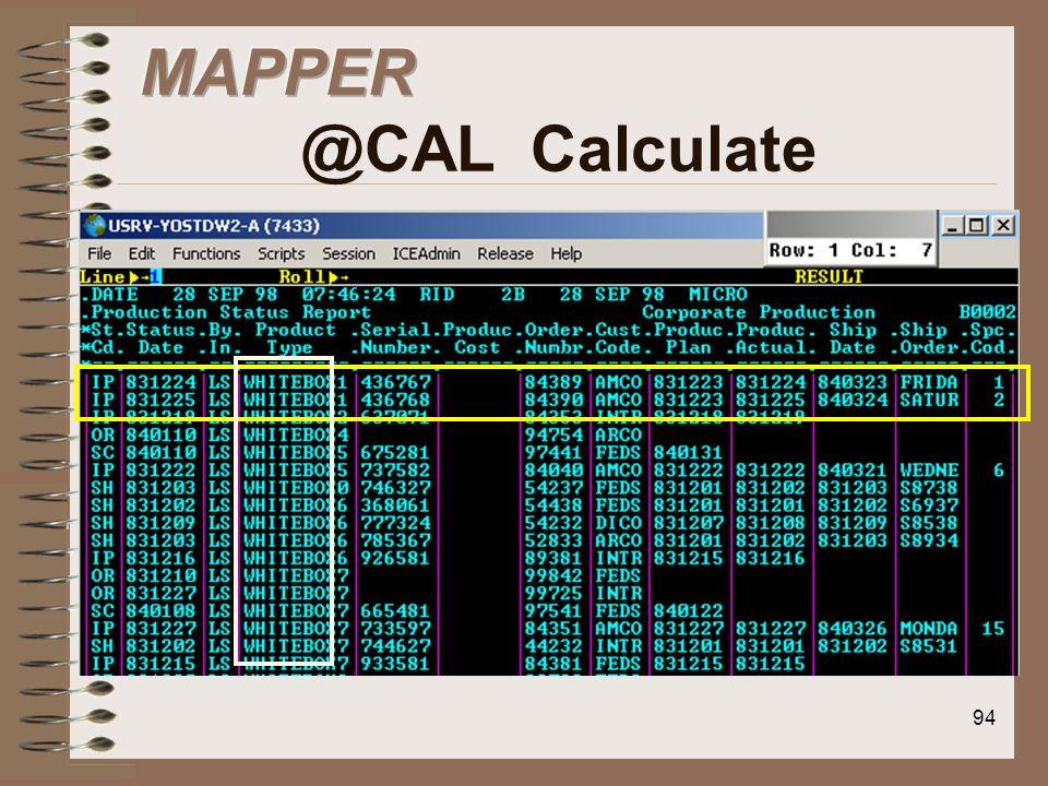 MAPPER @CAL Calculate