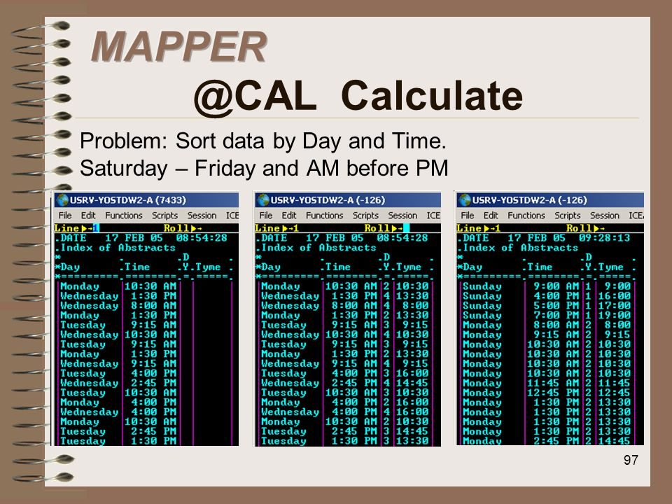 MAPPER @CAL CalculateProblem: Sort data by Day and Time.