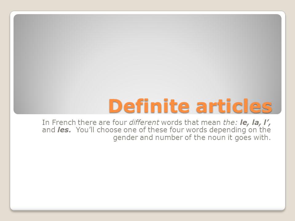 Definite articles