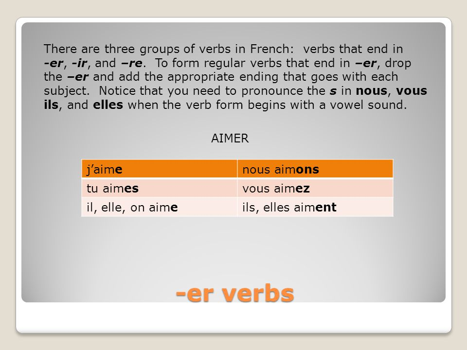 -er verbs There are three groups of verbs in French: verbs that end in
