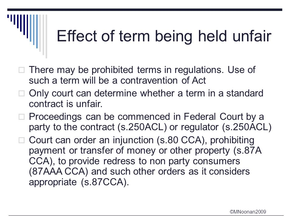 Effect of term being held unfair