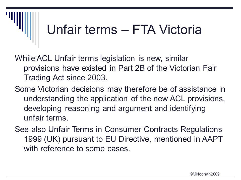 Unfair terms – FTA Victoria