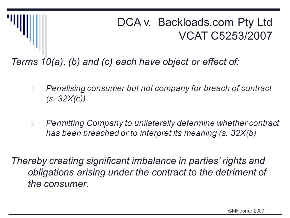 DCA v. Backloads.com Pty Ltd VCAT C5253/2007