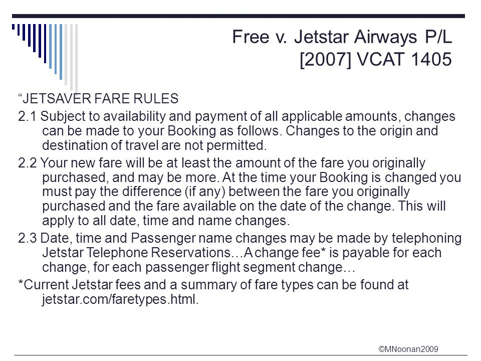Free v. Jetstar Airways P/L [2007] VCAT 1405