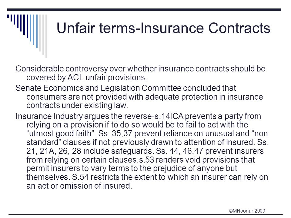 Unfair terms-Insurance Contracts