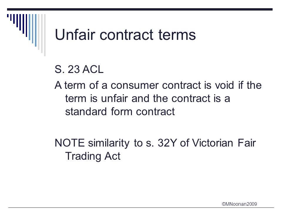 Unfair contract terms S. 23 ACL