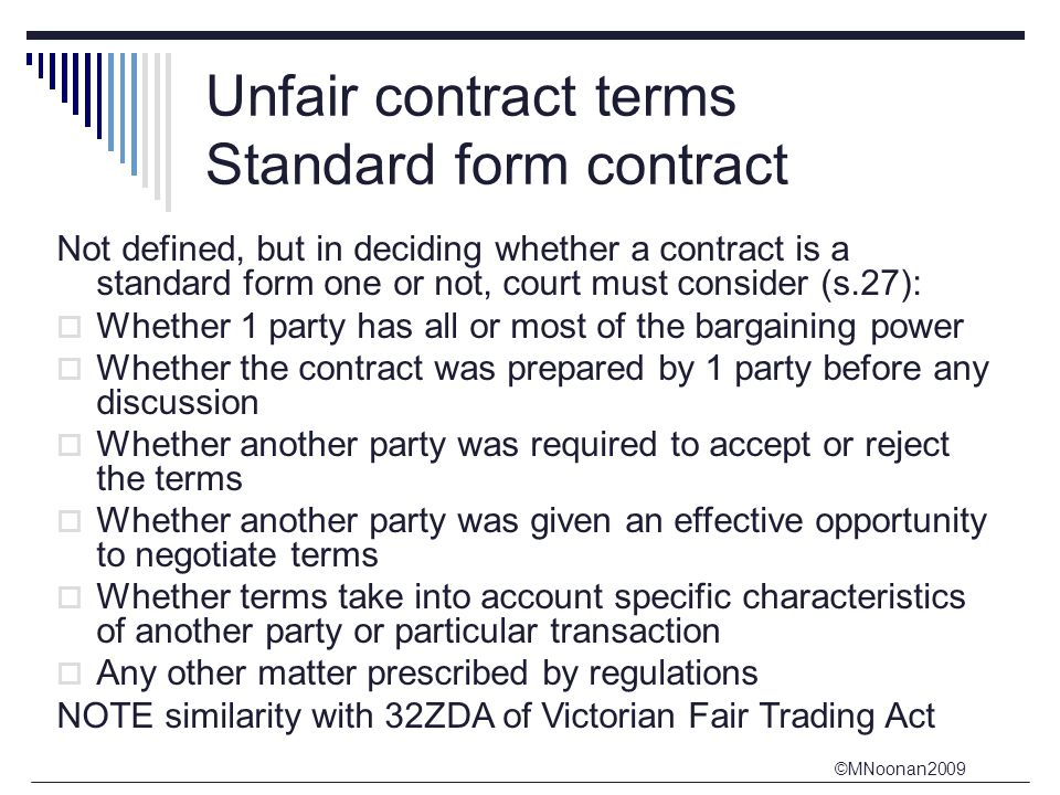 Unfair contract terms Standard form contract
