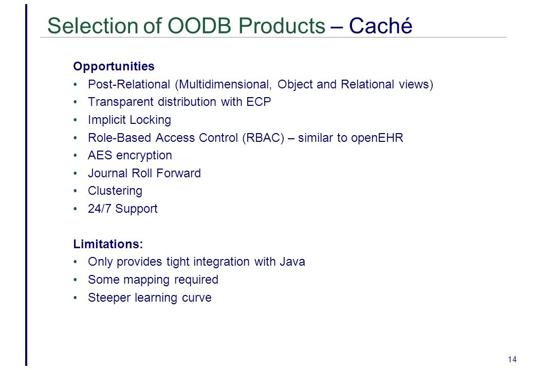 Selection of OODB Products – Caché
