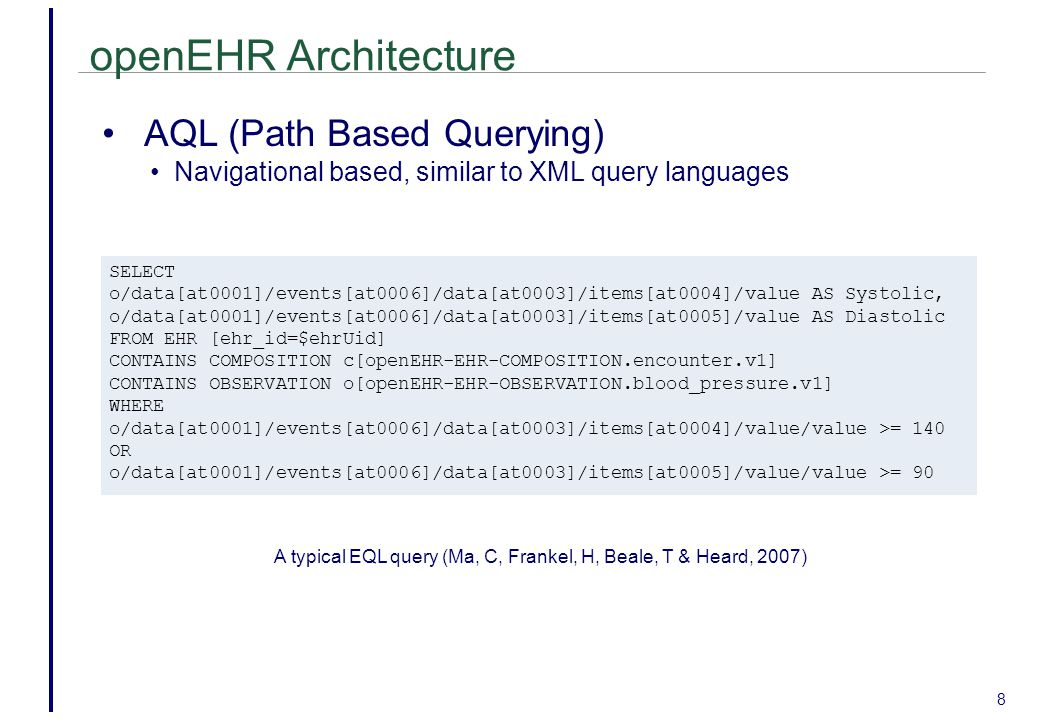 openEHR Architecture AQL (Path Based Querying)