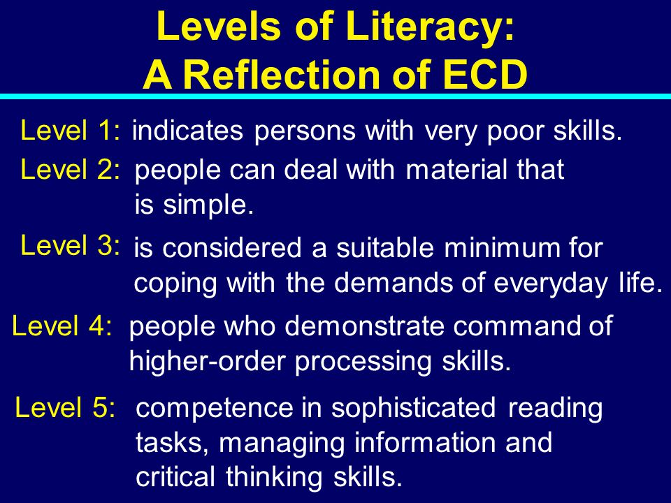 Levels of Literacy: A Reflection of ECD