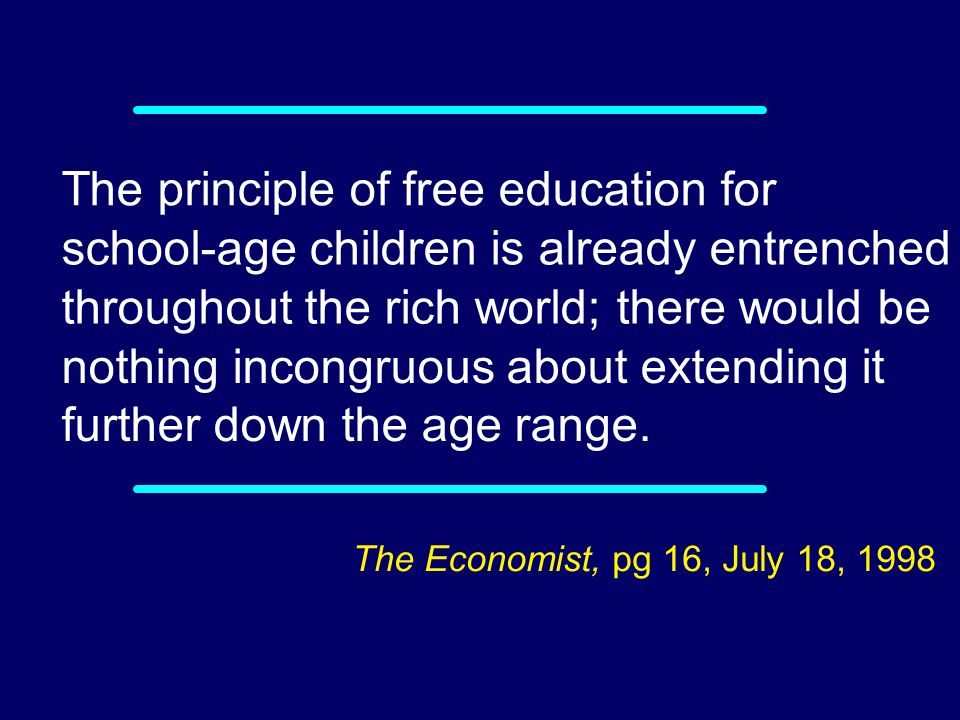 The principle of free education for