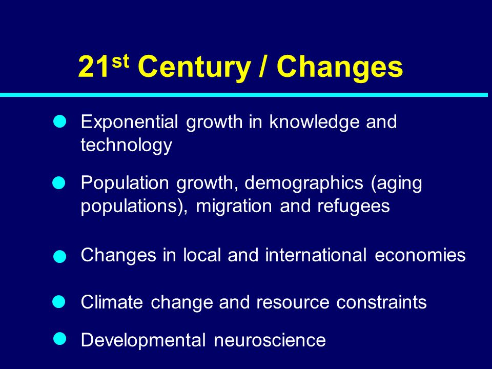 21st Century / Changes Exponential growth in knowledge and technology
