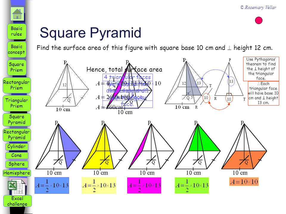 Square Pyramid Find the surface area of this figure with square base 10 cm and  height 12 cm. 12.
