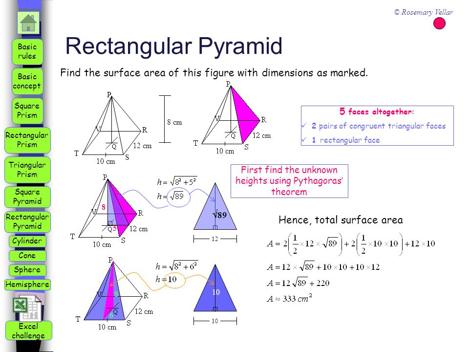 First find the unknown heights using Pythagoras' theorem