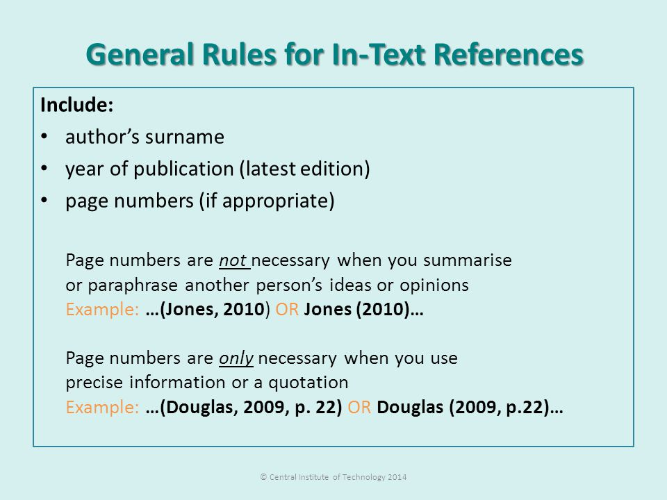 General Rules for In-Text References