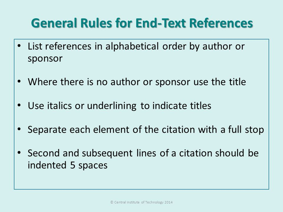 General Rules for End-Text References