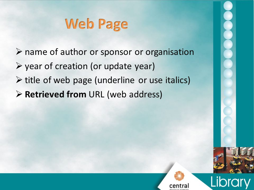 Web Page name of author or sponsor or organisation