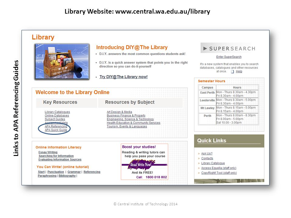 Library Website: www.central.wa.edu.au/library