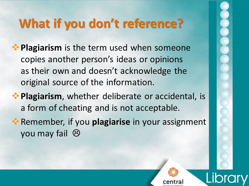 What if you don't reference
