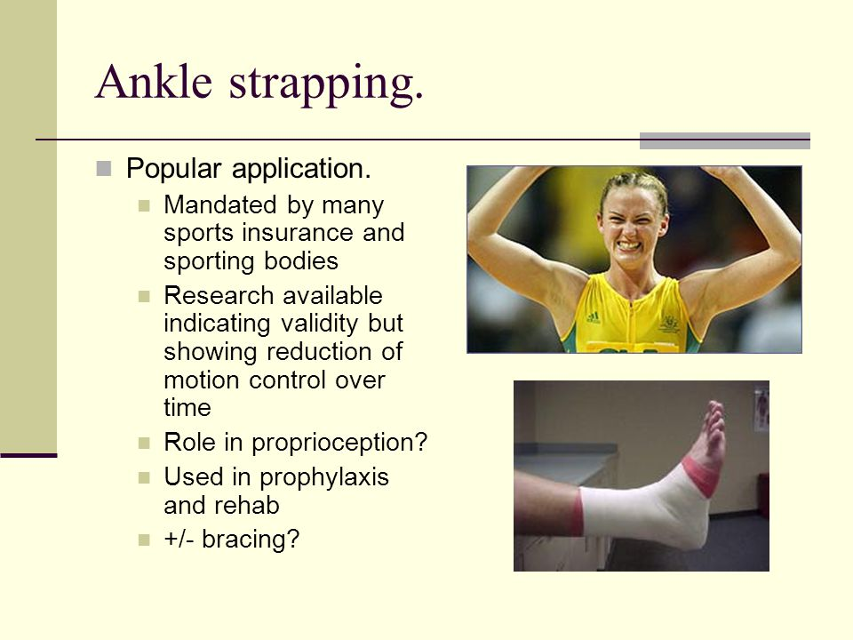 Ankle strapping. Popular application.