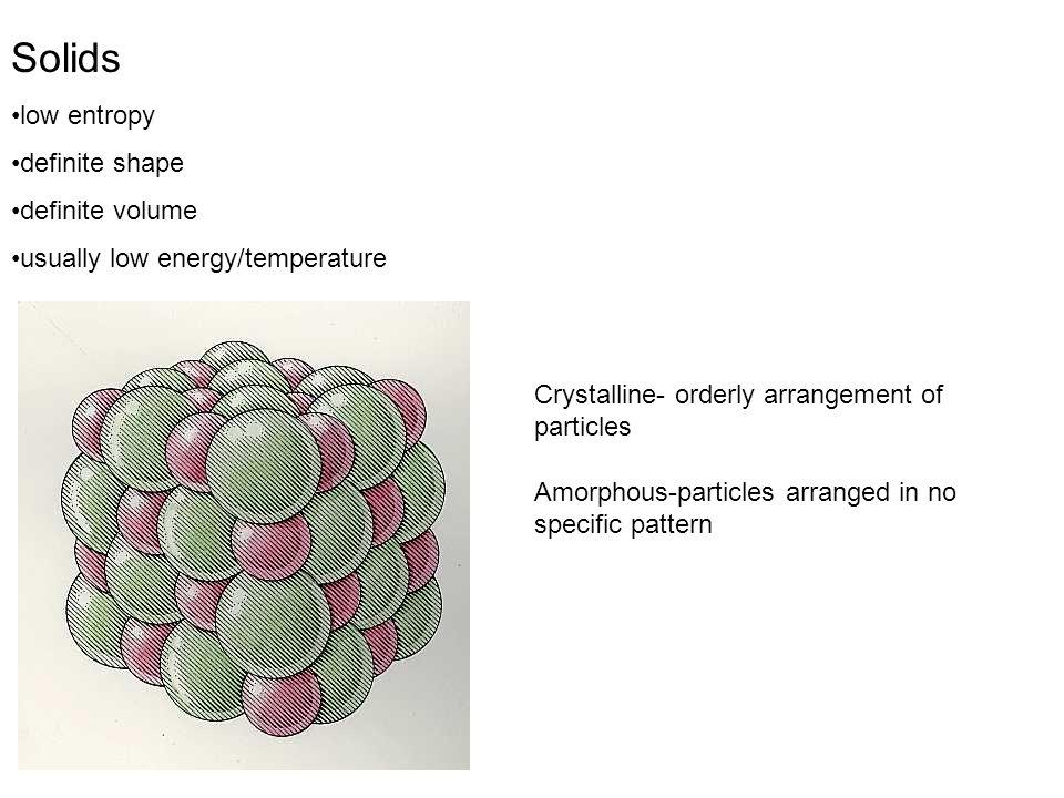 Solids low entropy definite shape definite volume