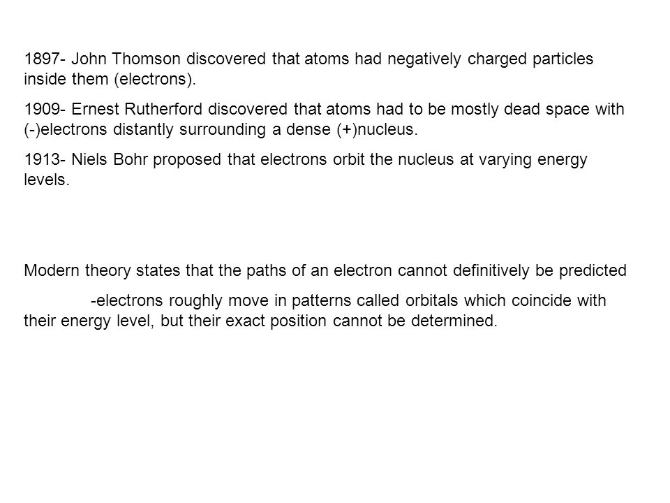 1897- John Thomson discovered that atoms had negatively charged particles inside them (electrons).