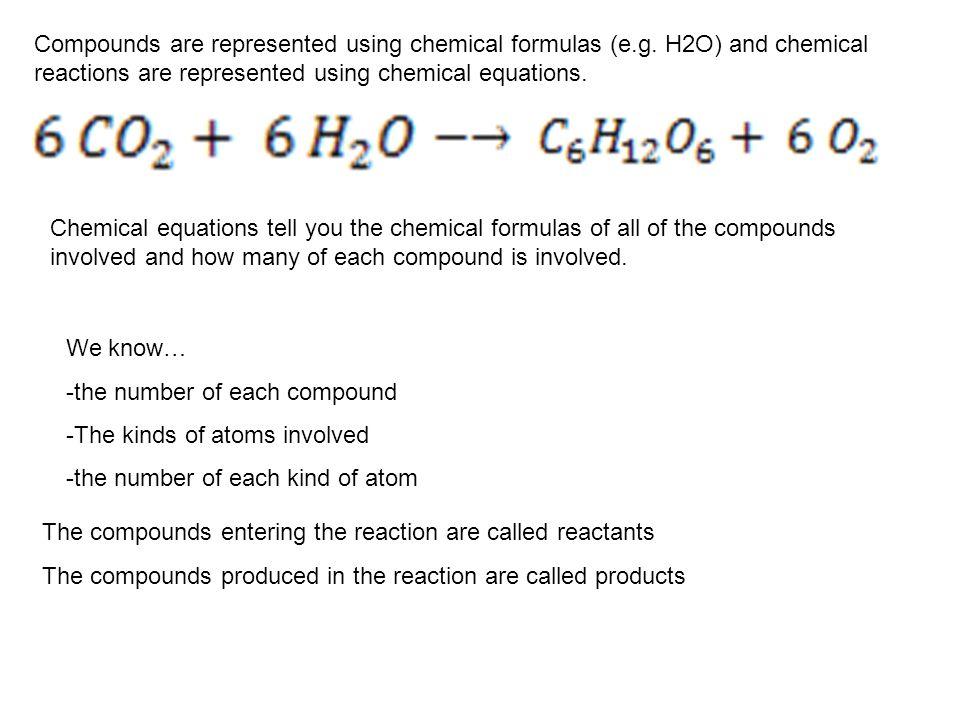 Compounds are represented using chemical formulas (e. g