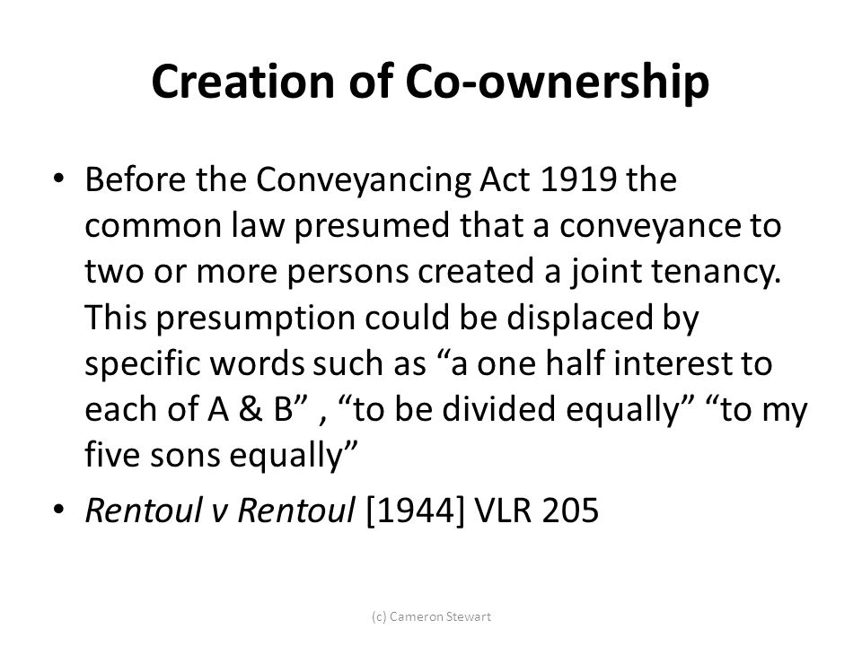 Creation of Co-ownership