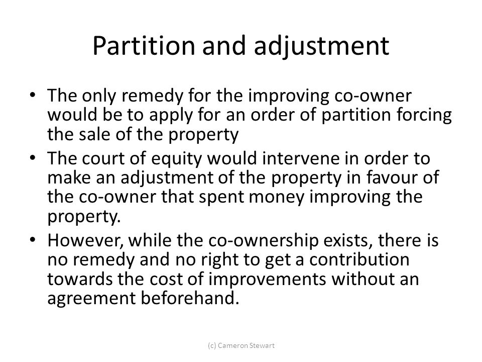 Partition and adjustment