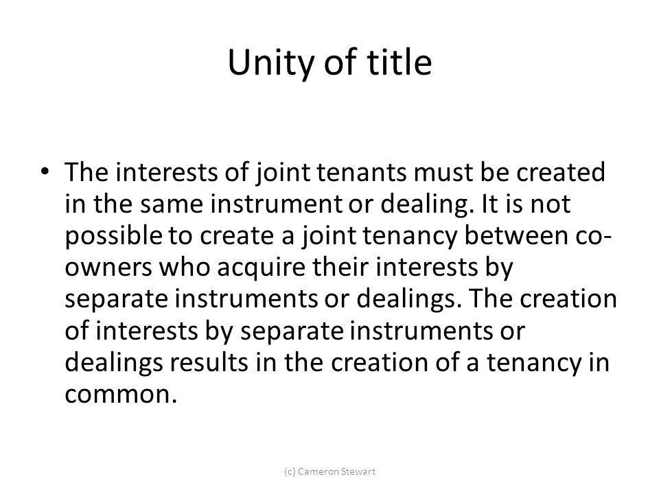 Unity of title