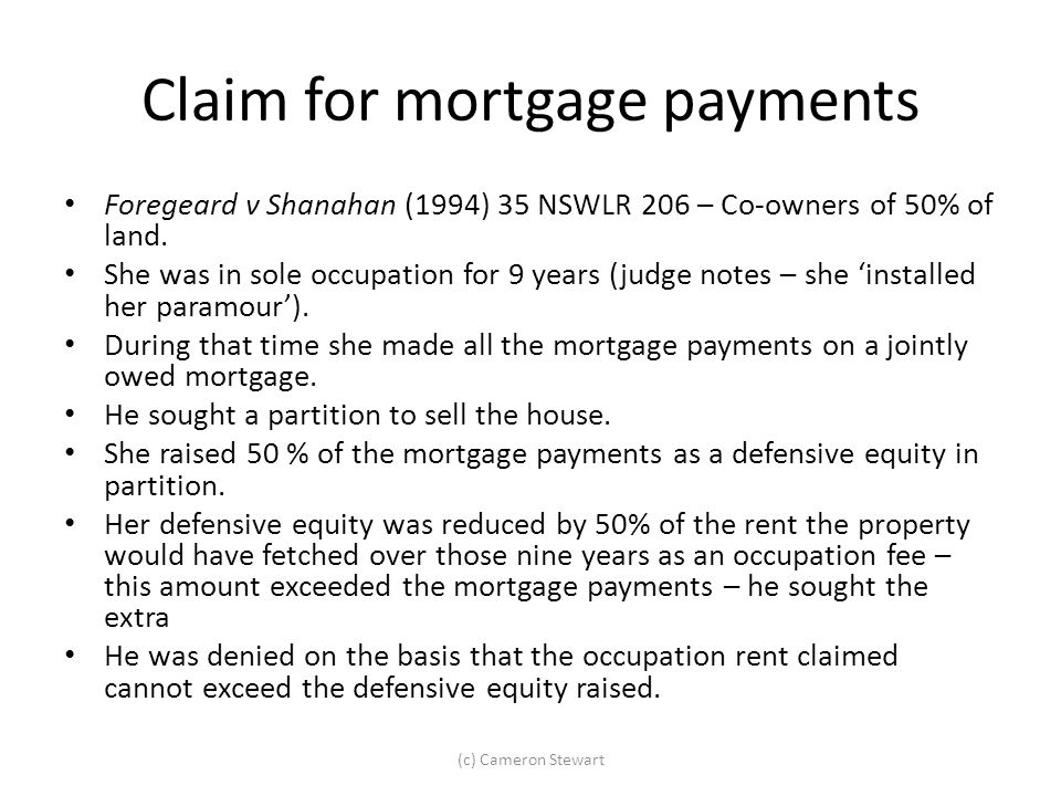 Claim for mortgage payments