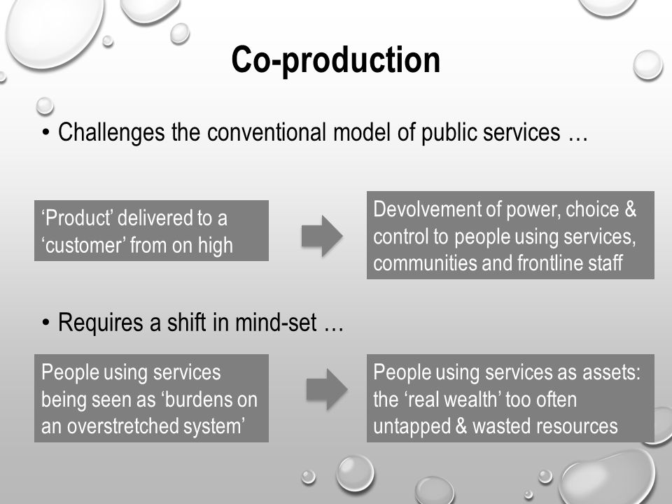 Co-production Challenges the conventional model of public services …