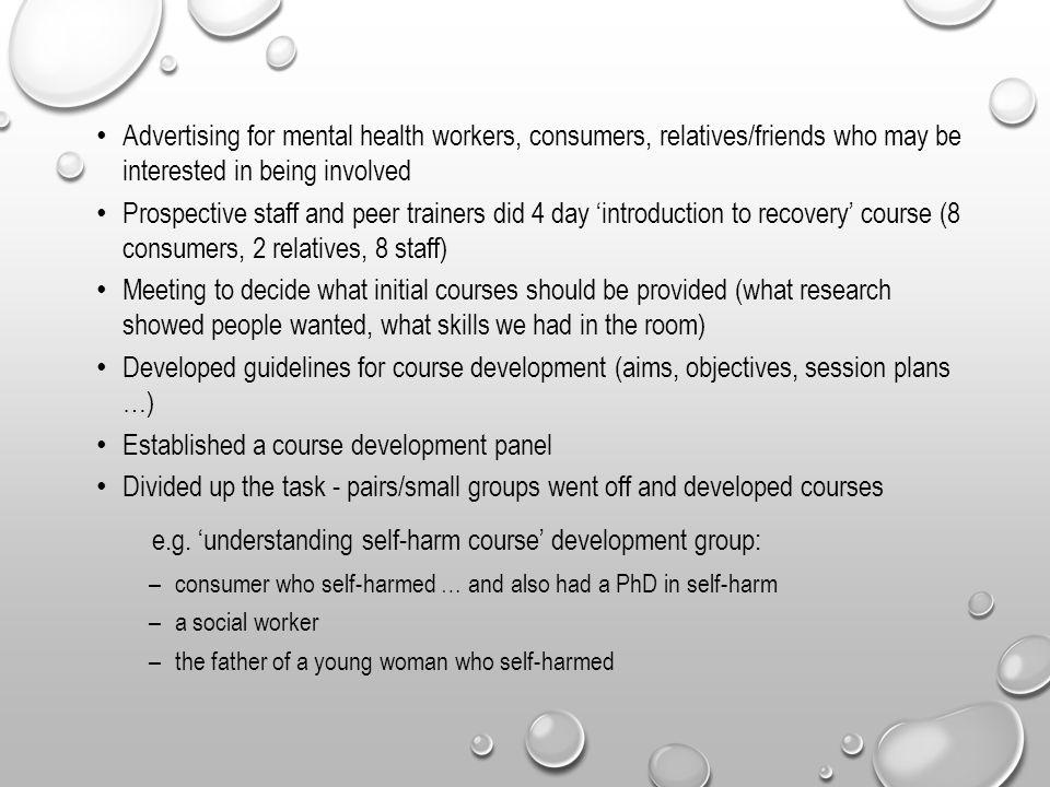 e.g. 'understanding self-harm course' development group: