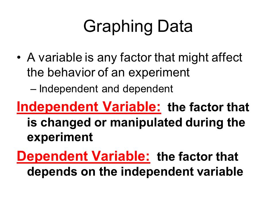 Graphing Data A variable is any factor that might affect the behavior of an experiment. Independent and dependent.